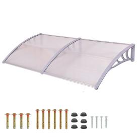 Műanyag előtető 240x90 cm, dupla, transzparens, fehér színű fali tartóelemekkel