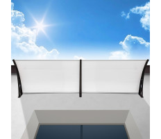 Műanyag előtető 240x90 cm, dupla, transzparens, fekete színű fali tartóelemekkel