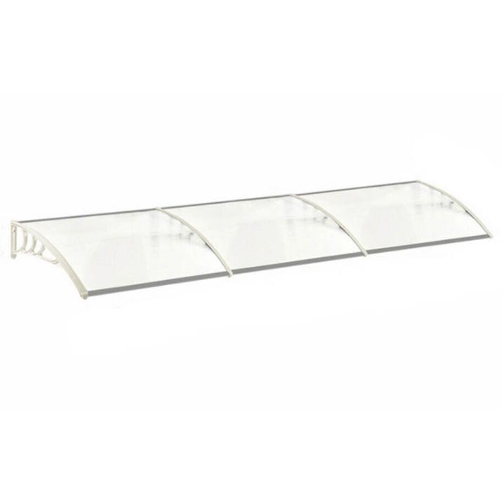 Műanyag előtető, 300 x 90 cm, transzparens, fehér színű fali tartóelemekkel
