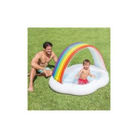 Szivárvány formájú, felfúható pancsoló medence napvédő tetővel