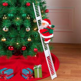 Létrára mászó, zenélő mikulás / karácsonyi dekoráció