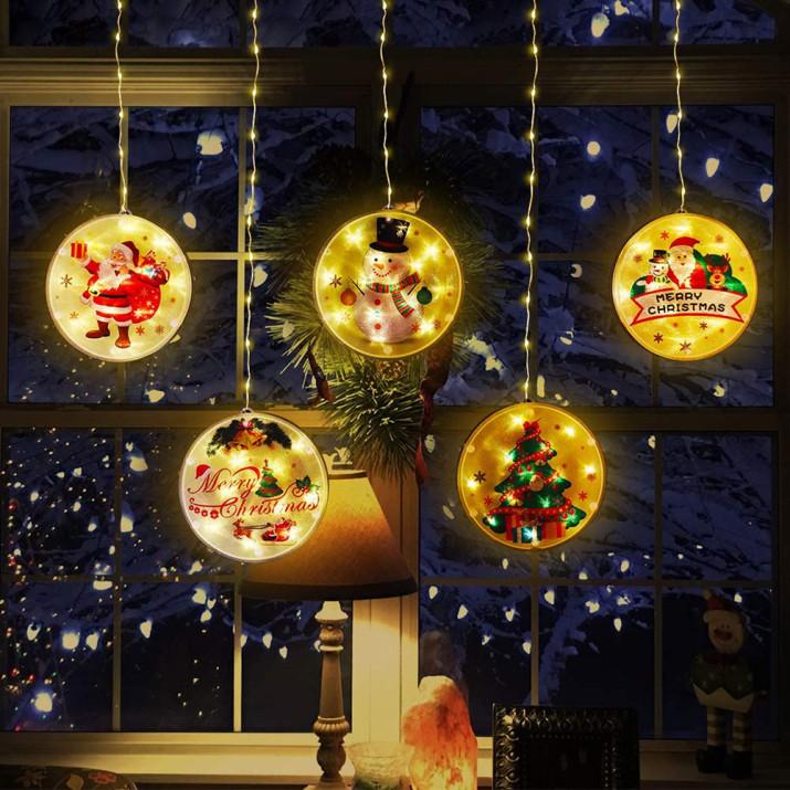 Felakasztható ablakdísz - karácsonyi LED fényfüzér / 113 LED, meleg fehér szín