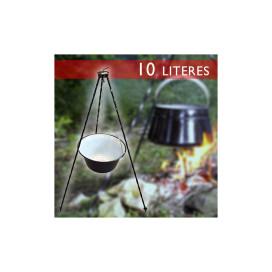 10 literes zománcozott bogrács állvánnyal