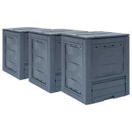 3 db szürke kerti komposztáló 60 x 60 x 73 cm 780 liter - utánvéttel vagy ingyenes szállítással