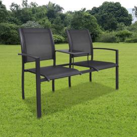 Kétszemélyes fekete acél és textilén kerti pad 131 cm - utánvéttel vagy ingyenes szállítással