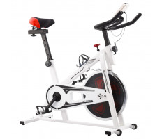 Fehér és piros spinning szobabicikli pulzusmérővel - utánvéttel vagy ingyenes szállítással