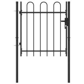 Fekete acél ívelt tetejű kerítéskapu 1 x 1 m - utánvéttel vagy ingyenes szállítással