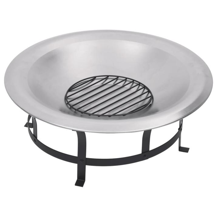 Rozsdamentes acél kültéri tűztál grillráccsal 76 cm - utánvéttel vagy ingyenes szállítással