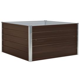 Barna horganyzott acél kerti magaságyás 100 x 100 x 45 cm - utánvéttel vagy ingyenes szállítással