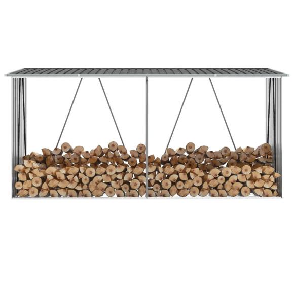 Antracit horganyzott acél kerti tűzifatároló 330 x 84 x 152 cm - utánvéttel vagy ingyenes szállítással