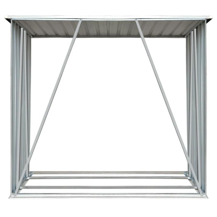 Antracit horganyzott acél kerti tűzifatároló 163 x 83 x 154 cm - utánvéttel vagy ingyenes szállítással
