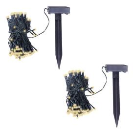 2 db meleg fehér fényű napelemes LED fényfüzér - utánvéttel vagy ingyenes szállítással