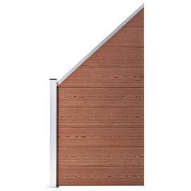 1 négyszögletes és 1 ferde barna WPC kerítéselem 273 x 186 cm - utánvéttel vagy ingyenes szállítással