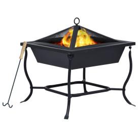 Fekete acél tűzrakó tál 61 x 61 x 50 cm - utánvéttel vagy ingyenes szállítással