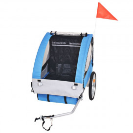 Szürke és kék gyerek kerékpár utánfutó 30 kg - utánvéttel vagy ingyenes szállítással