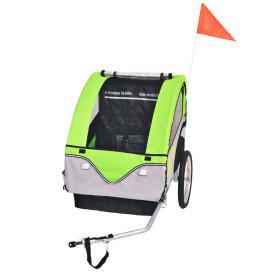 Szürke és zöld gyerek kerékpár utánfutó 30 kg - utánvéttel vagy ingyenes szállítással