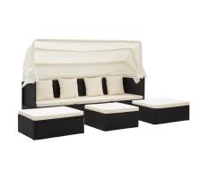 Fekete polyrattan kerti társalgó tetővel 200 x 60 x 124 cm - utánvéttel vagy ingyenes szállítással