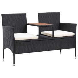 2 személyes fekete polyrattan kerti pad teázóasztallal 143 cm - utánvéttel vagy ingyenes szállítással