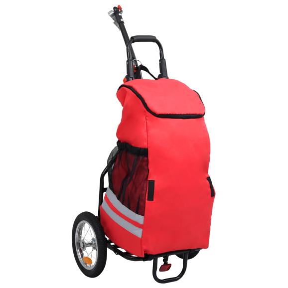 összecsukható kerékpár-utánfutó piros és fekete táskával - utánvéttel vagy ingyenes szállítással