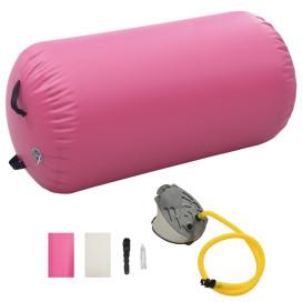 Rózsaszín PVC felfújható tornahenger pumpával 100 x 60 cm - utánvéttel vagy ingyenes szállítással