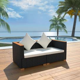 Fekete polyrattan kerti kanapé - utánvéttel vagy ingyenes szállítással