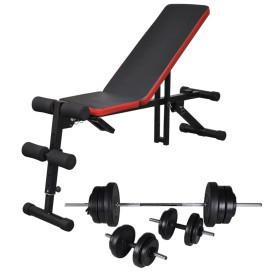 állítható haspad egykezes és kétkezes súlyzókészlettel 60,5 kg - utánvéttel vagy ingyenes szállítással