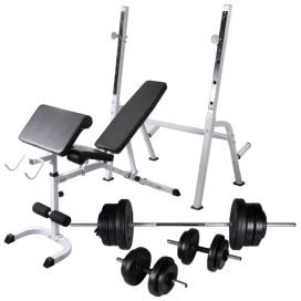 Edzőpad állvánnyal, egykezes és kétkezes súlyzószettel 60,5 kg - utánvéttel vagy ingyenes szállítással