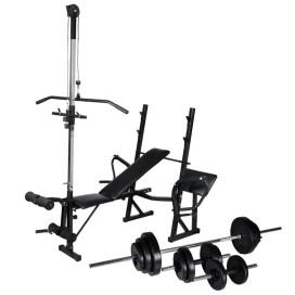 Edzőpad állvánnyal, egykezes és kétkezes súlyzószettel 30,5 kg - utánvéttel vagy ingyenes szállítással