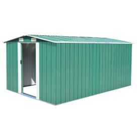 Zöld fém kerti fészer 257 x 398 x 178 cm - utánvéttel vagy ingyenes szállítással