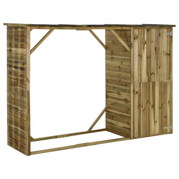 Fenyőfa kerti tűzifatároló fészer 253 x 80 x 170 cm - utánvéttel vagy ingyenes szállítással