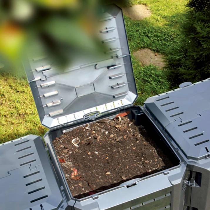 Fekete kerti komposztáló 380 L - utánvéttel vagy ingyenes szállítással