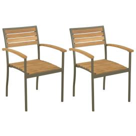 2 db rakásolható tömör akácfa és acél kültéri szék - utánvéttel vagy ingyenes szállítással