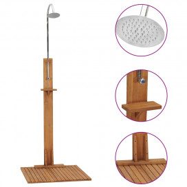 Tömör tíkfa kerti zuhany 75 x 75 x 210 cm - utánvéttel vagy ingyenes szállítással