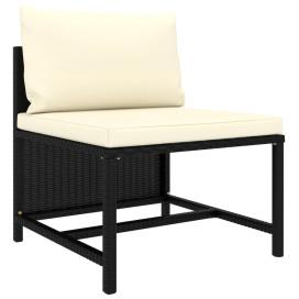 3 részes fekete polyrattan kerti ülőgarnitúra párnával - utánvéttel vagy ingyenes szállítással