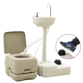 Szürke hordozható kemping-WC 10+10 L és kézmosóállvány 20 L - utánvéttel vagy ingyenes szállítással