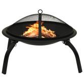 2 az 1-ben acél tűztál és grillező piszkavassal 56 x 56 x 49 cm - utánvéttel vagy ingyenes szállítással