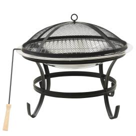 Rozsdamentes acél tűztál és grillező piszkavassal 56x56x49 cm - utánvéttel vagy ingyenes szállítással