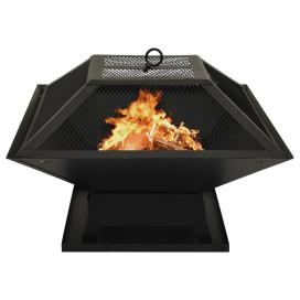 2 az 1-ben acél tűztál és grillező piszkavassal 46,5x46,5x37 cm - utánvéttel vagy ingyenes szállítással