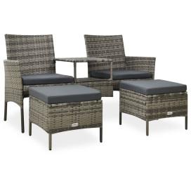 2 személyes szürke polyrattan kerti kanapé asztallal/zsámollyal - utánvéttel vagy ingyenes szállítással