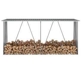 Szürke horganyzott acél kerti tűzifatároló 330 x 84 x 152 cm - utánvéttel vagy ingyenes szállítással