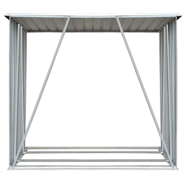 Szürke horganyzott acél kerti tűzifatároló, 163 x 83 x 154 cm - utánvéttel vagy ingyenes szállítással