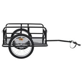 Fekete acél kerékpár-utánfutó 130 x 73 x 48,5 cm - utánvéttel vagy ingyenes szállítással