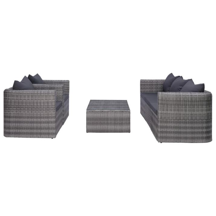 6-részes szürke polyrattan kerti bútorszett párnákkal - utánvéttel vagy ingyenes szállítással