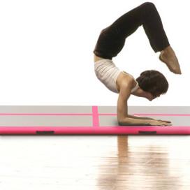 Rózsaszín PVC felfújható tornaszőnyeg pumpával 300x100x10 cm - utánvéttel vagy ingyenes szállítással