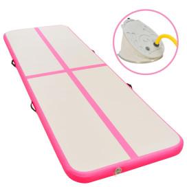Rózsaszín PVC felfújható tornaszőnyeg pumpával 400x100x10 cm - utánvéttel vagy ingyenes szállítással
