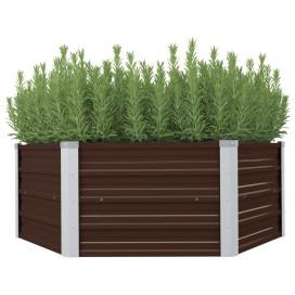 Barna kerti magaságyás horganyzott acélból 129 x 129 x 46 cm - utánvéttel vagy ingyenes szállítással