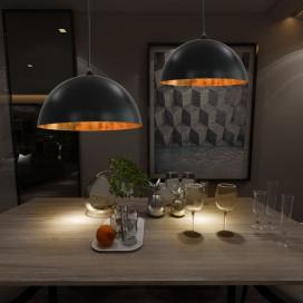 2 darab fekete-arany félgömb alakú mennyezeti lámpa 50 cm E27 - utánvéttel vagy ingyenes szállítással
