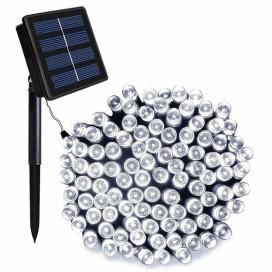 100 LED-es napelemes kerti fényfüzér, hidegfehér, 10m