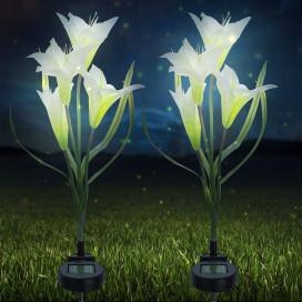 Lily napelemes kerti lámpa, fehér